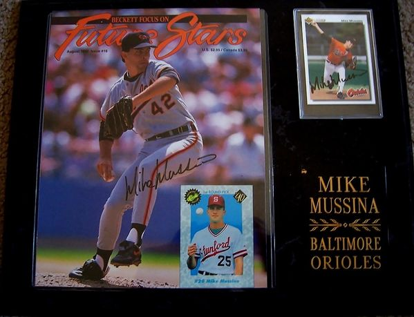 Mike Mussina autographed Baltimore Orioles magazine cover & 1992 Upper Deck card in plaque