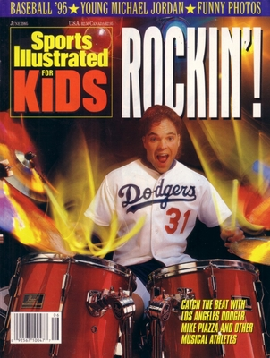 Mike Piazza Los Angeles Dodgers 1995 Sports Illustrated for Kids magazine with poster