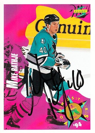 Mike Rathje autographed San Jose Sharks 1994-95 Score card