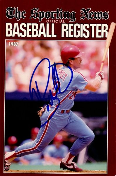 Mike Schmidt autographed Philadelphia Phillies 1987 Baseball Register cover