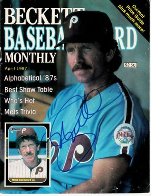 Mike Schmidt autographed Philadelphia Phillies 1987 Beckett Baseball magazine cover