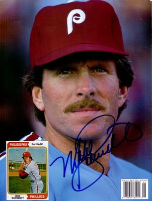 Mike Schmidt autographed Philadelphia Phillies Beckett Baseball back cover photo