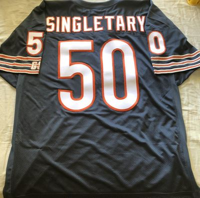 Mike Singletary Chicago Bears 1991 1992 final seasons double stitched navy blue jersey NEW