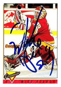 Mike Vernon autographed Calgary Flames 1993-94 Topps Premier card