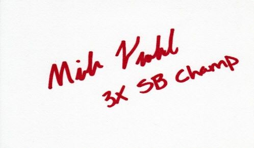 Mike Vrabel autographed 3x5 index card inscribed 3X SB Champ