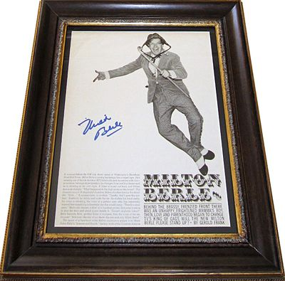 Milton Berle autographed vintage magazine photo matted & framed