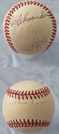 1957 Milwaukee Braves and Robin Yount autographed MLB baseball (Hank Aaron Warren Spahn)