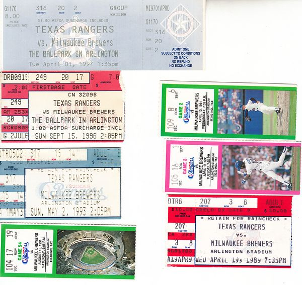 Milwaukee Brewers at Texas Rangers lot of 7 vintage 1989 to 1997 tickets