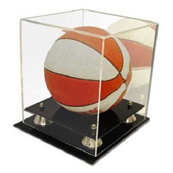 Mini basketball or soccer ball deluxe acrylic display case