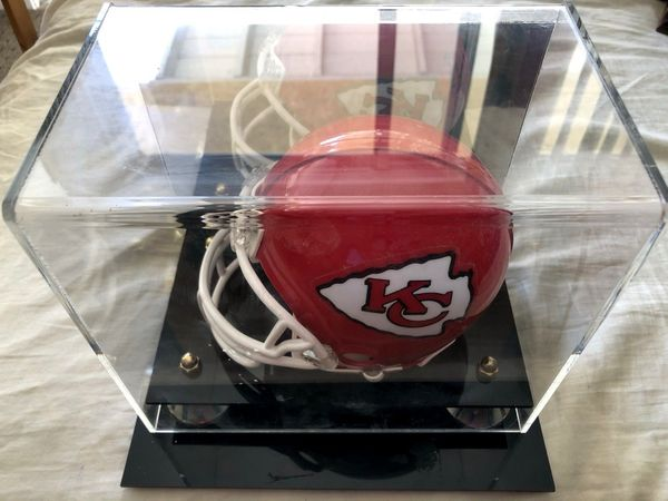 Mini helmet acrylic display case with mirrored back (flawed and used)