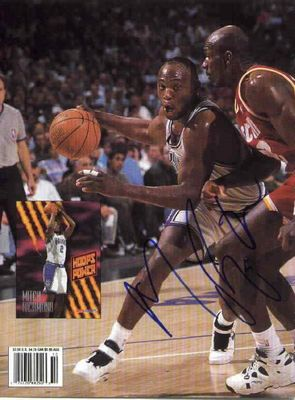 Mitch Richmond autographed Sacramento Kings Beckett Basketball back cover photo