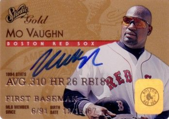 Mo Vaughn autographed Boston Red Sox 1995 Studio Gold card