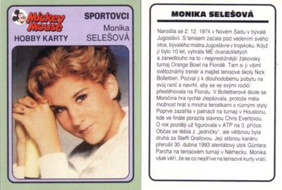 Monica Seles 1994 Mickey Mouse card (RARE FROM CZECH REPUBLIC)