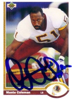 Monte Coleman autographed Washington Redskins 1991 Upper Deck card