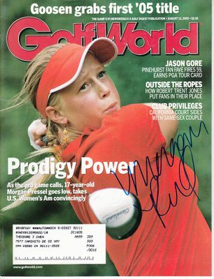 Morgan Pressel autographed 2005 U.S. Amateur Championship Golf World magazine