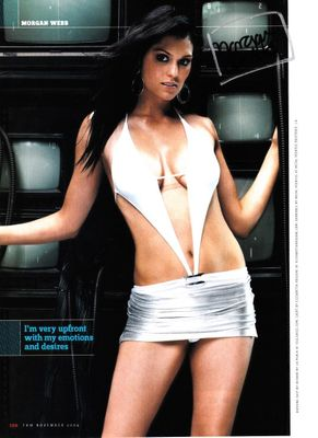 Morgan Webb autographed sexy FHM magazine full page photo