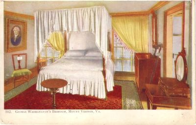 Mount Vernon George Washington's Bedroom vintage postcard