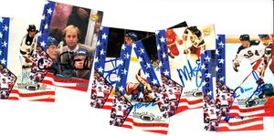 1980 Miracle on Ice lot of 8 different 1995 Signature Rookies autographed cards (Mike Eruzione)