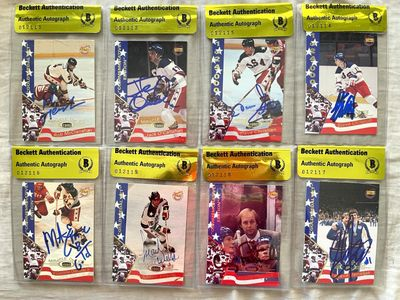 1980 Miracle on Ice lot of 8 different 1995 Signature Rookies autographed cards BAS authenticated (Mike Eruzione)