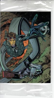 Mr. Fantastic Marvel Onslaught 1996 Fleer promo card #1