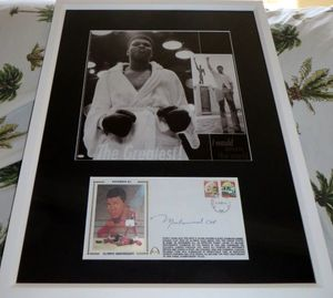 Muhammad Ali autographed 1990 Gateway cachet matted and framed with vintage boxing photo