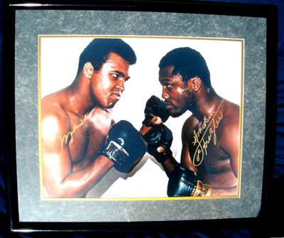 Muhammad Ali and Joe Frazier (inscribed Smokin') autographed 16x20 poster size photo matted and framed with exact signing pictures