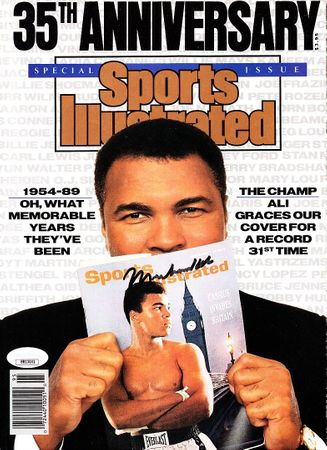Muhammad Ali autographed 1989 Sports Illustrated cover custom framed with 6 8x10 photos (JSA)