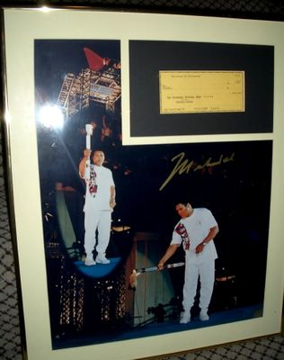 Muhammad Ali autographed 1996 Olympic Torch 16x20 poster size photo framed with check limited edition 1996