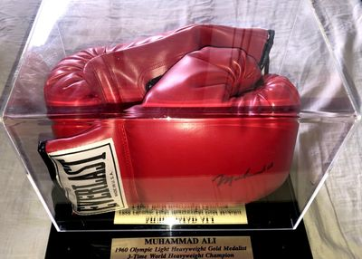 Muhammad Ali autographed Everlast leather boxing glove in custom display case (JSA)