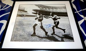 Muhammad Ali and Ken Norton autographed 1976 Yankee Stadium 16x20 poster size photo matted and framed