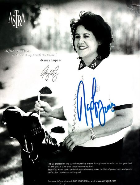 Nancy Lopez autographed Astra full page golf magazine photo ad
