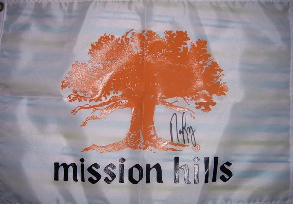 Nancy Lopez autographed Mission Hills golf pin flag