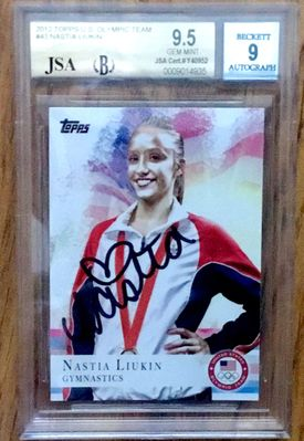 Nastia Liukin autographed 2012 Topps U.S. Olympic card JSA authenticated (BGS graded 9.5 and slabbed)