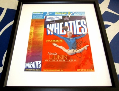 Nastia Liukin autographed Wheaties box matted & framed