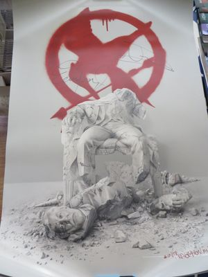 Natalie Dormer and Evan Ross autographed Hunger Games Mockingjay Part 2 movie poster
