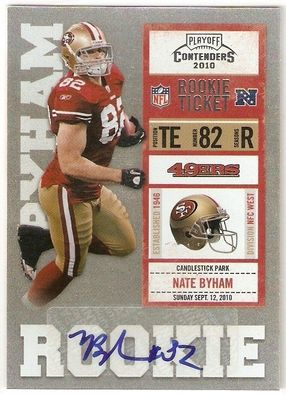 Nate Byham certified autograph 2010 Playoff Contenders Rookie Card