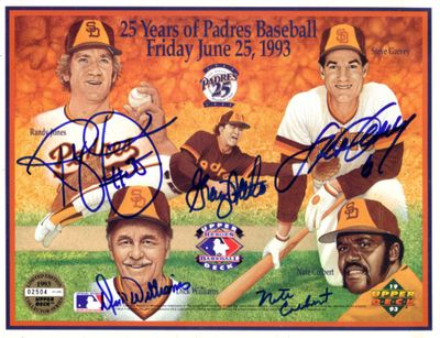 Nate Colbert Steve Garvey Randy Jones Graig Nettles Dick Williams autographed San Diego Padres 1993 Upper Deck card sheet