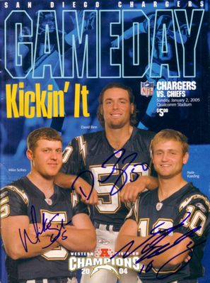 Nate Kaeding David Binn Mike Scifres autographed San Diego Chargers 2005 program