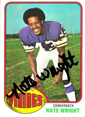 Nate Wright autographed Minnesota Vikings 1976 Topps card