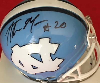 Natrone Means autographed North Carolina Tar Heels (UNC) mini helmet