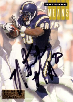 Natrone Means autographed San Diego Chargers 1994 SkyBox card