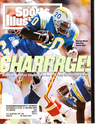 Natrone Means autographed San Diego Chargers 1994 Sports Illustrated