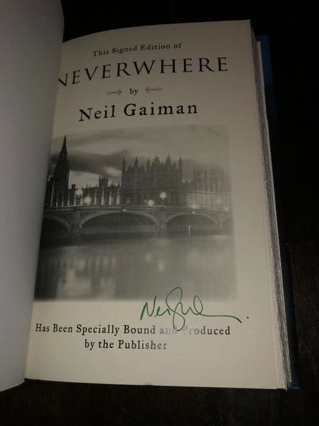 Neil Gaiman autographed Neverwhere hardcover signed edition book