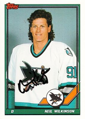 Neil Wilkinson autographed San Jose Sharks 1991-92 Topps card
