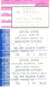 New Jersey Devils lot of 3 vintage road game ticket stubs (1988 Stanley Cup Playoffs)