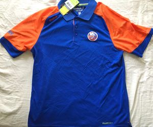 New York Islanders authentic Reebok Center Ice blue coaches polo shirt NEW WITH TAGS