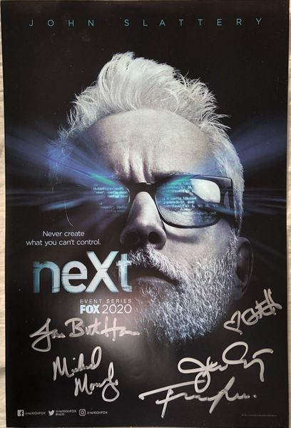 NeXt cast autographed 2019 Comic-Con poster (Eve Harlow John Slattery)