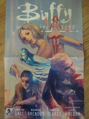 Christos Gage autographed Buffy the Vampire Slayer 2014 Comic-Con Dark Horse poster