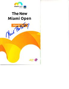 Nick Bollettieri autographed 2019 Miami Open tennis tournament map and program