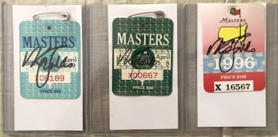 Nick Faldo autographed 1989 1990 1996 set of 3 Masters badges (JSA)
